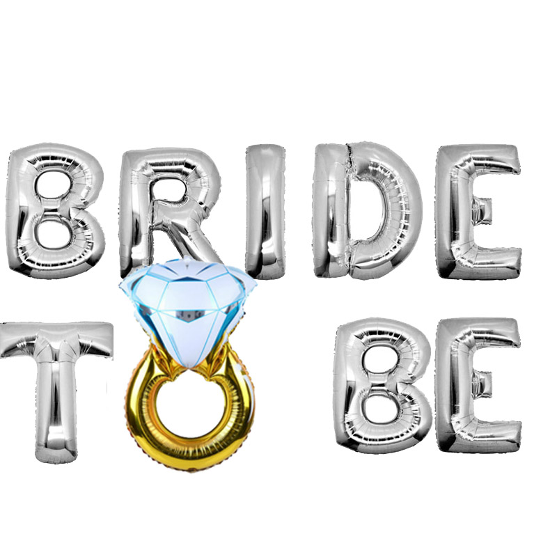 בלון אותיות BRIDE TO BE עם טבעת